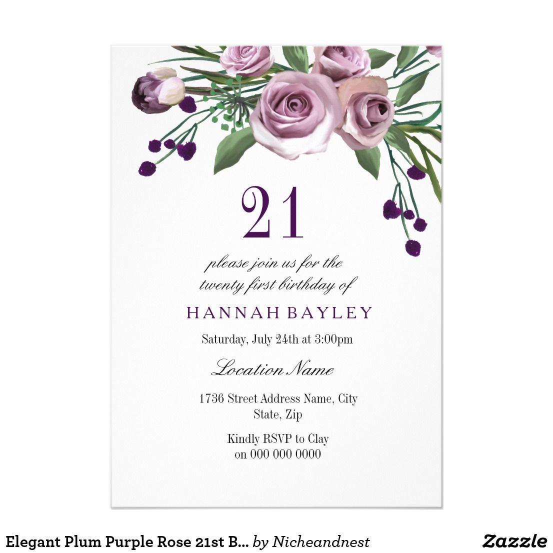 Plum Purple Rose 21st Birthday Invitation