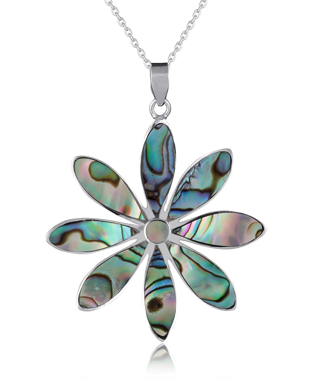 Adenu s jewels u paquerette mother of pearl abalone pendant set