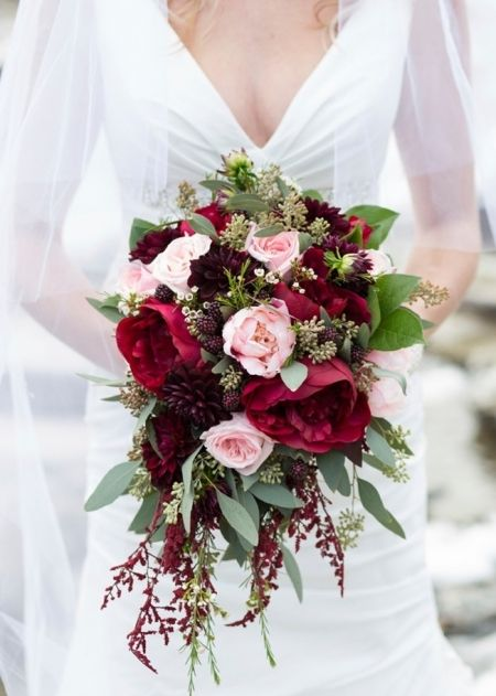 burgundy and pink bouquet with seeded eucalyptus, peonies ...