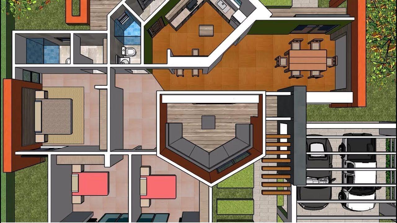 Plano Casa Un Piso Tres Recamaras Proyecto De Arquitectura Casas De Un Piso Planos De Casas Proyectos Arquitectura