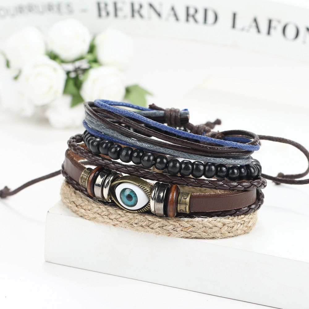 Evil eyes design hemp laceup adjustable bracelets bangles leather