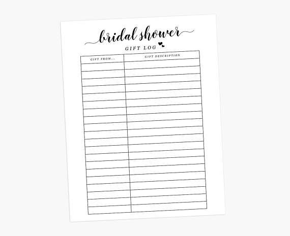 bridal shower gift log bridal gift tracker bridal shower gift