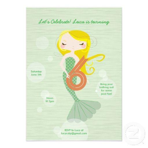 Sweet Mermaid Birthday Invitation