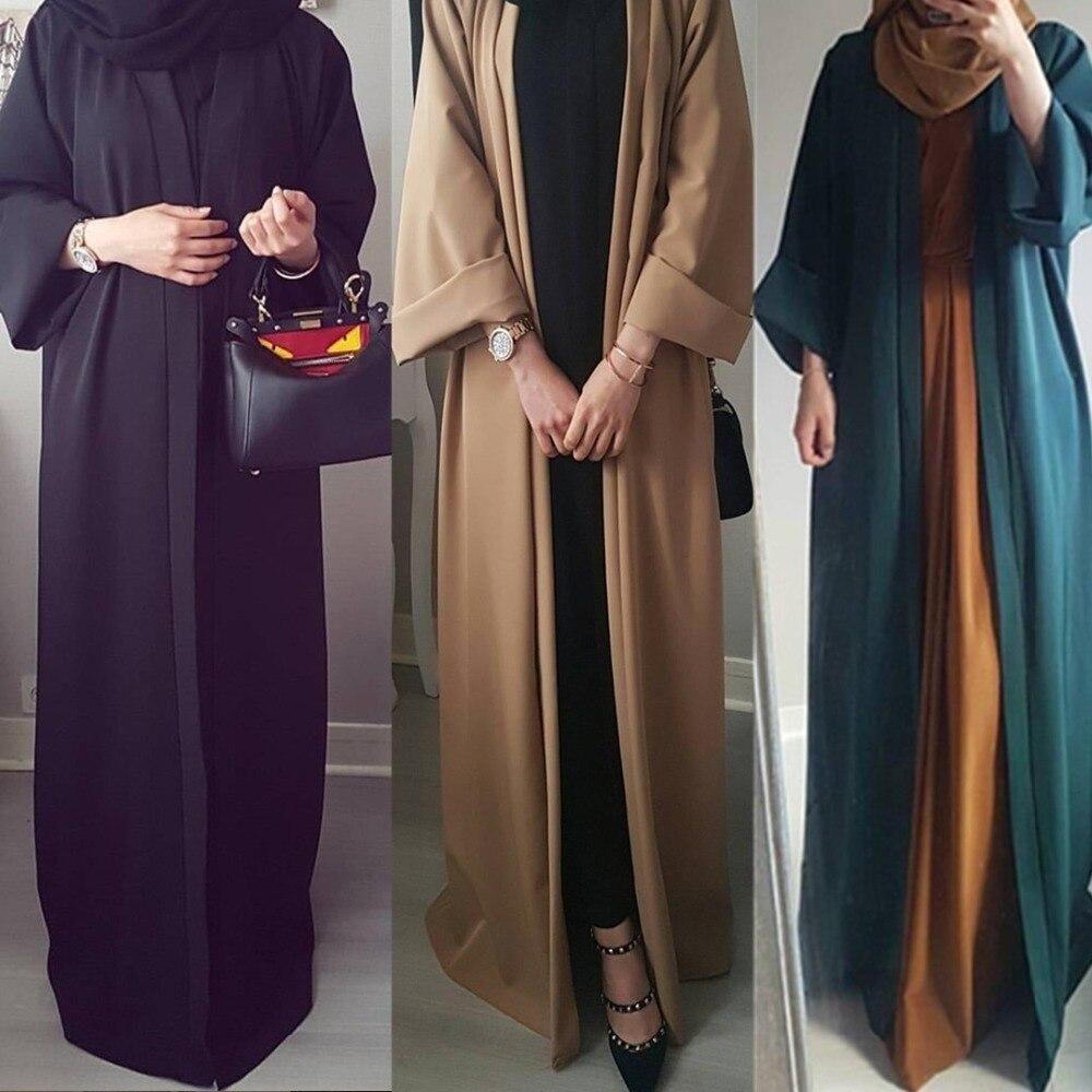Abaya Women Muslim Long Robe Open Cardigan Islamic Kaftan Kimono Prayer Dresses