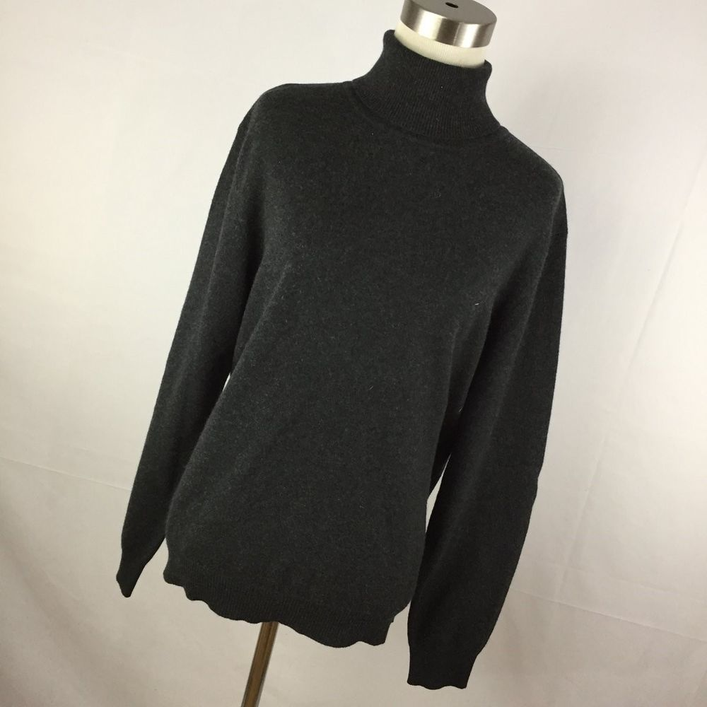 Country Shop Cashmere Sweater L Large Gray Turtleneck Classic ...