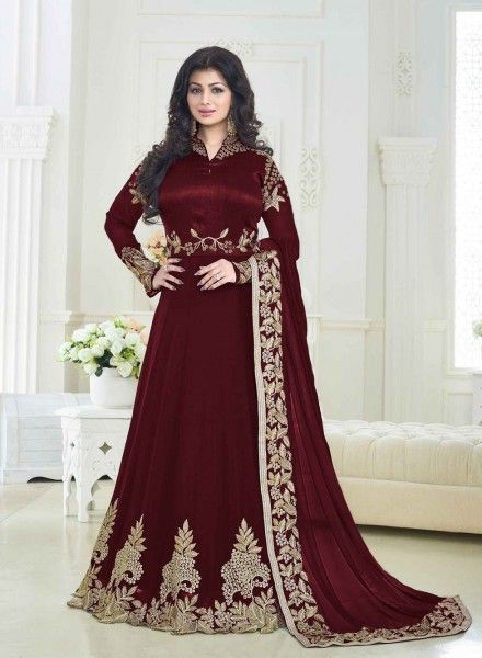 3f966ad7b1520 Maroon designer wedding wear floor touch anarkali suit for N.R.I brides |  Things to wear | Silk anarkali suits, Anarkali gown, Anarkali dress