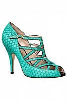 Turquoise Fishscale Leather Strap Sandal