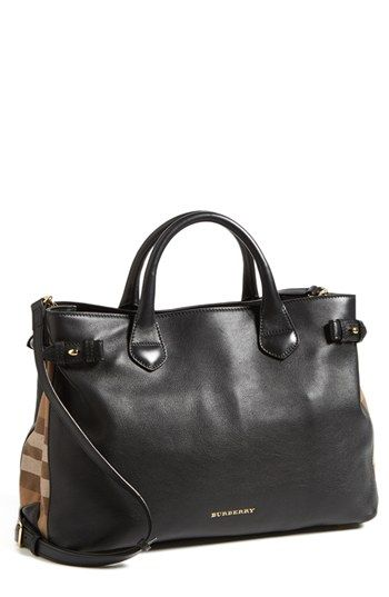 250903a311ff Burberry  Medium Banner  House Check Leather Tote available at  Nordstrom I  am in love with this bag
