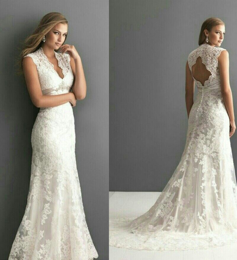 Allure Wedding Dress Keyhole Back Lace Bridal Gowns With Long Train Applique Sequin A Line V Neckline E Wedding Dresses Wedding Dresses Lace Allure Bridal Lace