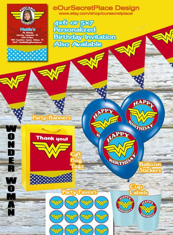 Printable Wonder Woman Superhero Party Gift Bag Tags Balloon Labels Plate Stickers Pennant Banner Favor Cup Bucket Pail On Etsy 399
