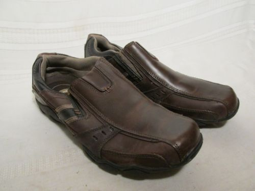 Skechers Choc Brown Leather Loafers Shoes Men's 10.5
