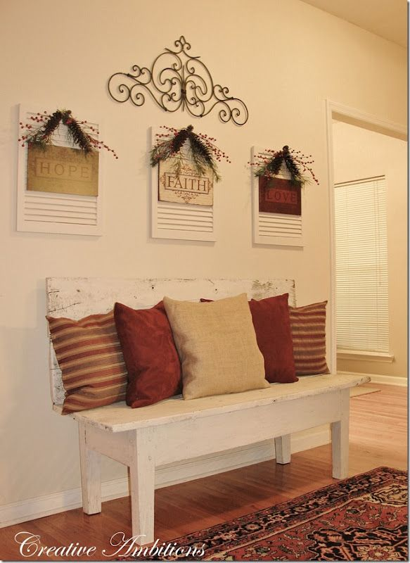 Cute idea to fill empty wall.... love the bench and all the pillows ...