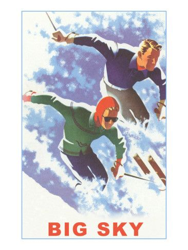Vintage Style Travel Poster - USA - Montana - Big Sky Winter Sports
