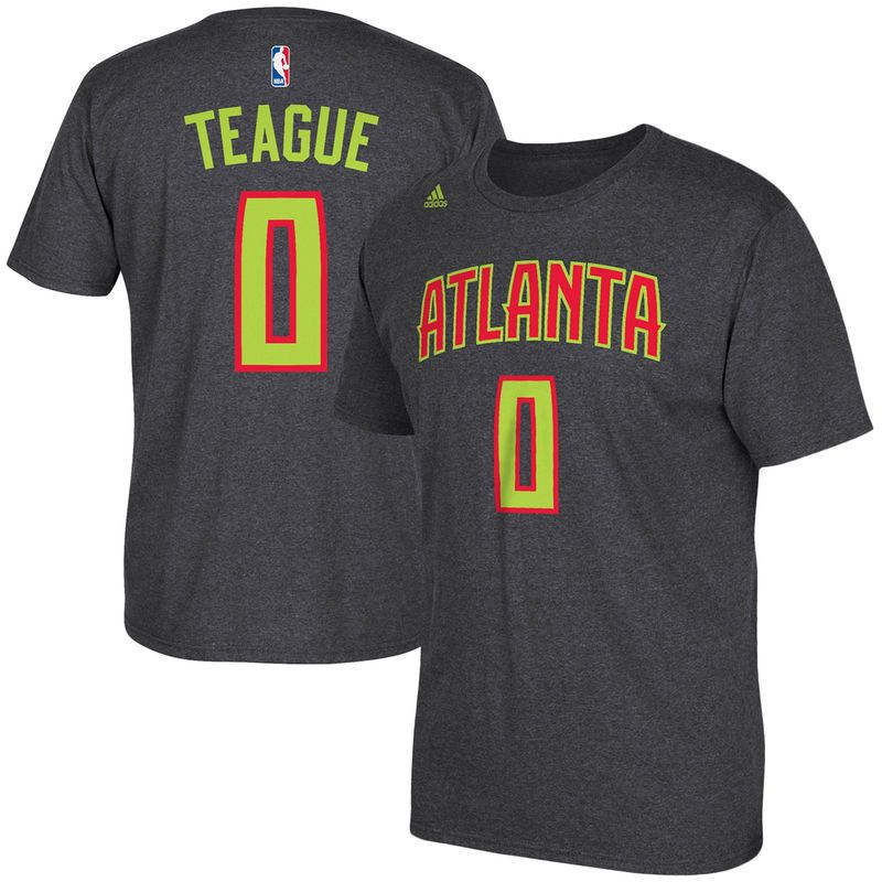 Jeff Teague Atlanta Hawks adidas Net Number T-Shirt - Gray