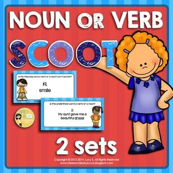 $ Noun or Verb SCOOT - 70 Task Cards - have students figuring out whether a word is a noun or a verb. Great introduction or review of parts of speech and multiple meaning words.
