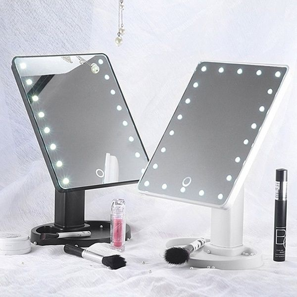 16 22 Led 360 Rotated Women S Makeup Touch Screen Mirror Tabletop