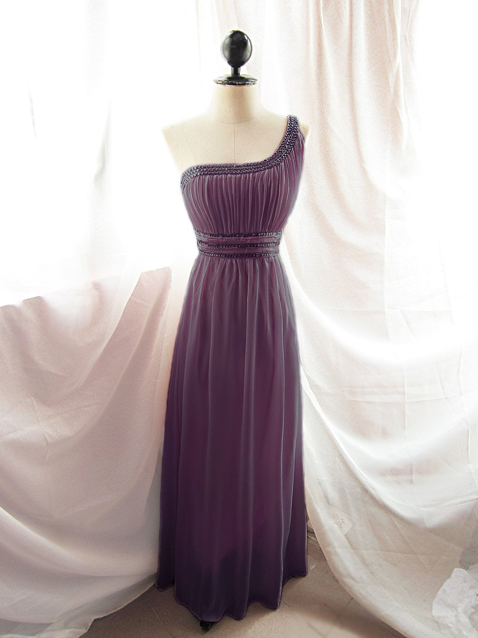 Romantic Angel Plum Chantilly Purple Mauve Long Evening Grecian ...
