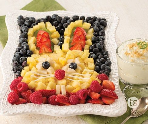 Bunny Fresh Fruit Platter with Key Lime Fruit Dip Recipe http://recipes-only.com/bunny-fresh-fruit-platter-with-key-lime-fruit-dip-recipe/