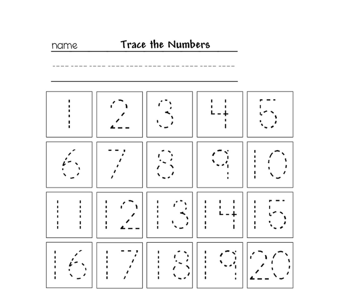 tracing numbers for kg printable worksheet | Alphabets and Numbers ...