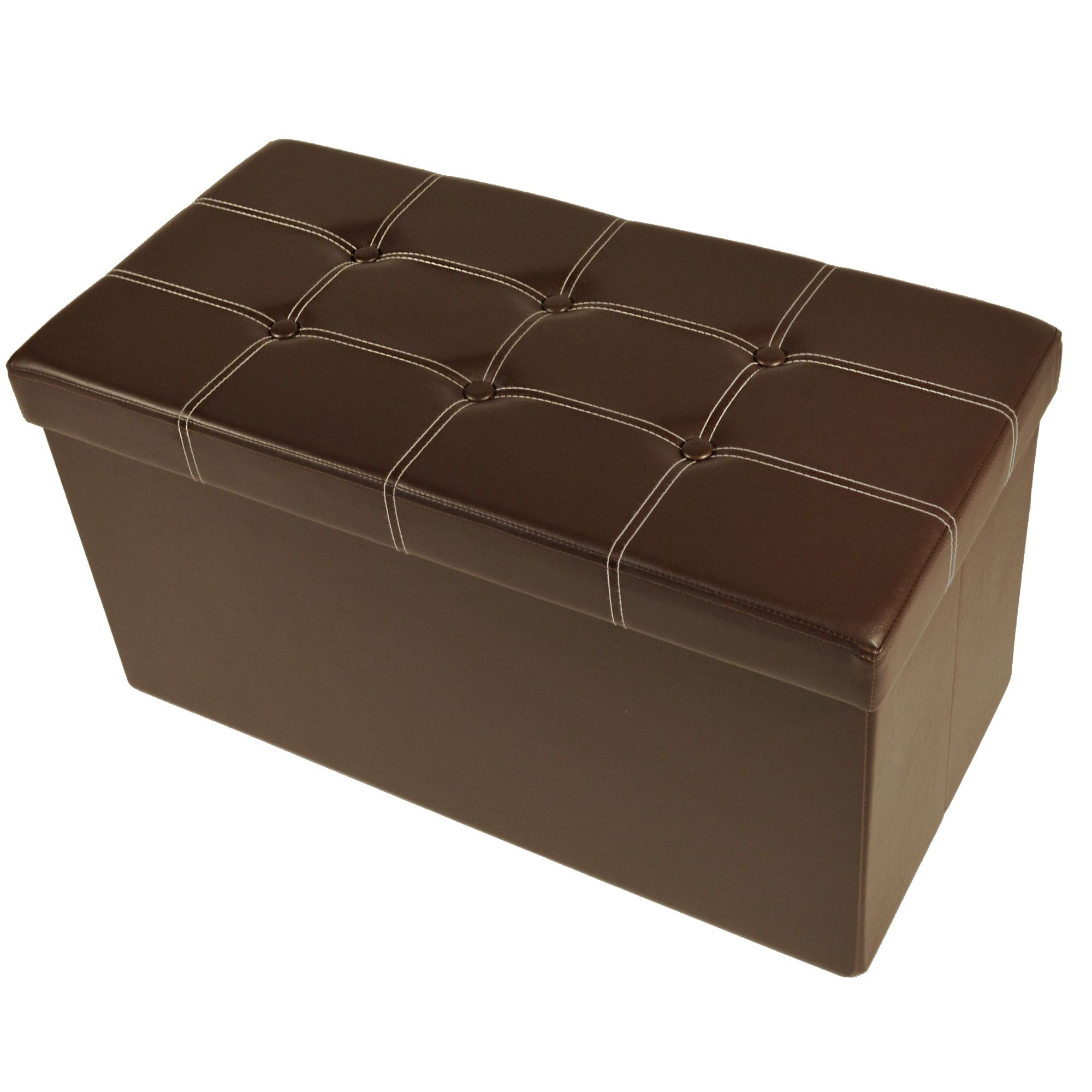 Collapsible Tufted Storage Ottoman - Faux Leather 30x15x15 (Black ...