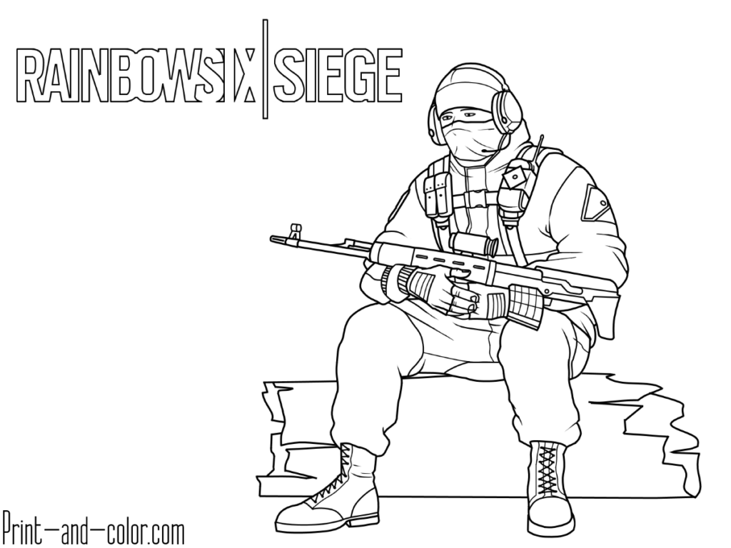 Rainbow Six Siege 6 Coloring Page Glaz Spetsnaz Coloring Pages Rainbow Print