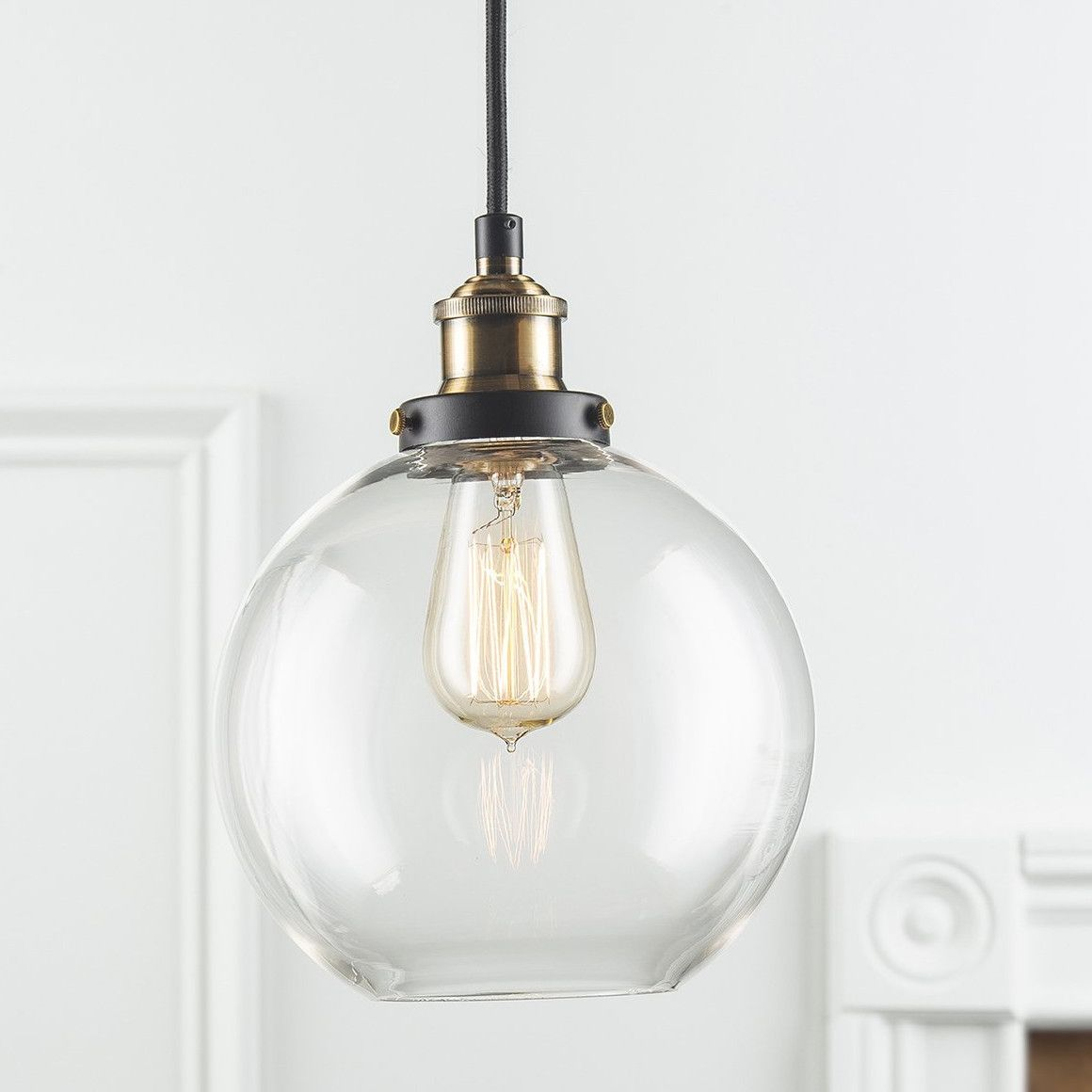 d23f8a66e837 -Classic factory lighting inspired pendant lamp. -Comes with universal  mounting plate. -Includes 8 ft field adjustable fabric wrapped cord.