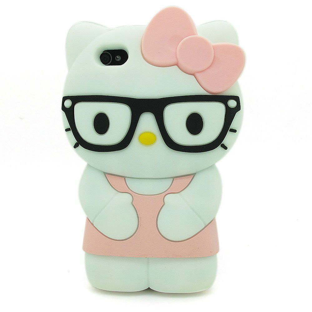 iPHONE 5 5S 5C SE HELLO KITTY GLASSES CASE 3D Character ...
