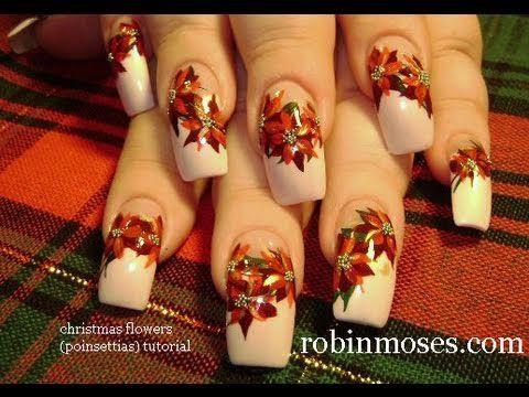 christmas flowers poinsettia design: robin moses nail art ...