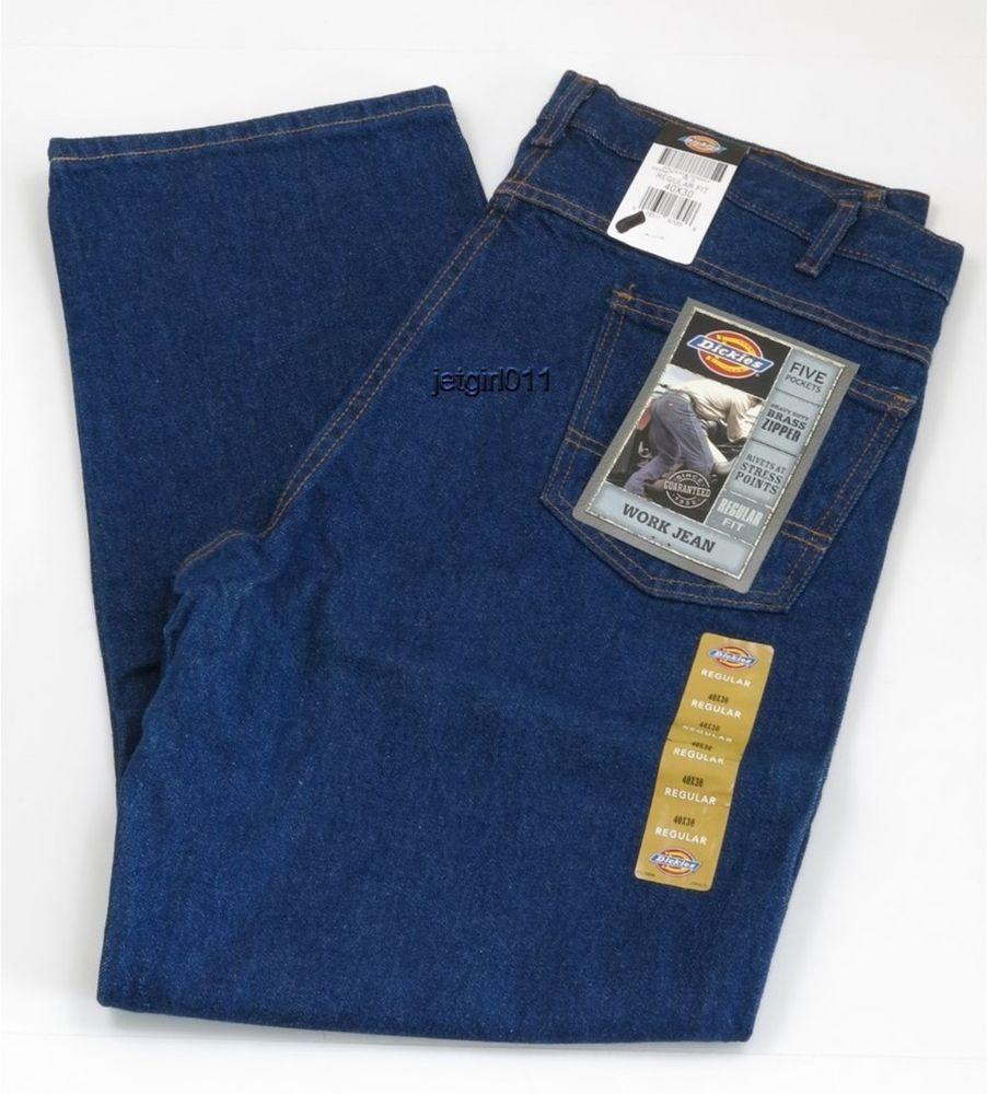 Dickies Mens Jeans Regular Fit Work Jean Denim Brass Button 40 x ...