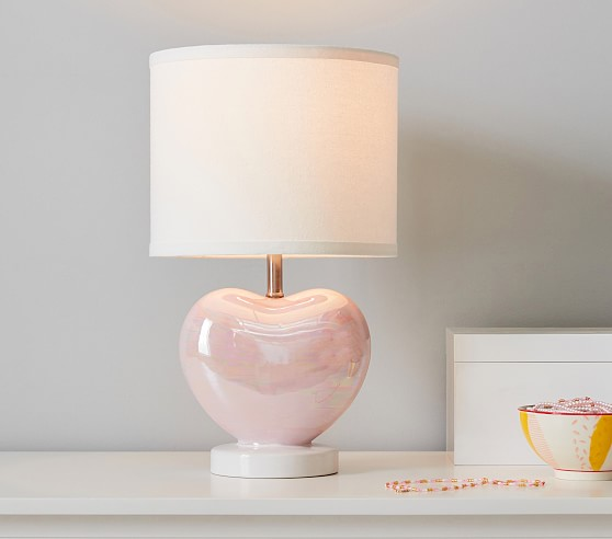 Iridescent Heart Table Lamp Pottery, Pink Kids Lamp
