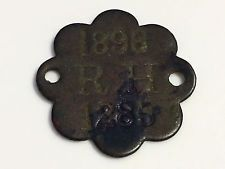 RARE ANTIQUE VINTAGE 1896 HAWAII HAWAIIAN KINGDOM METAL DOG TAG TOKEN BANGO KING