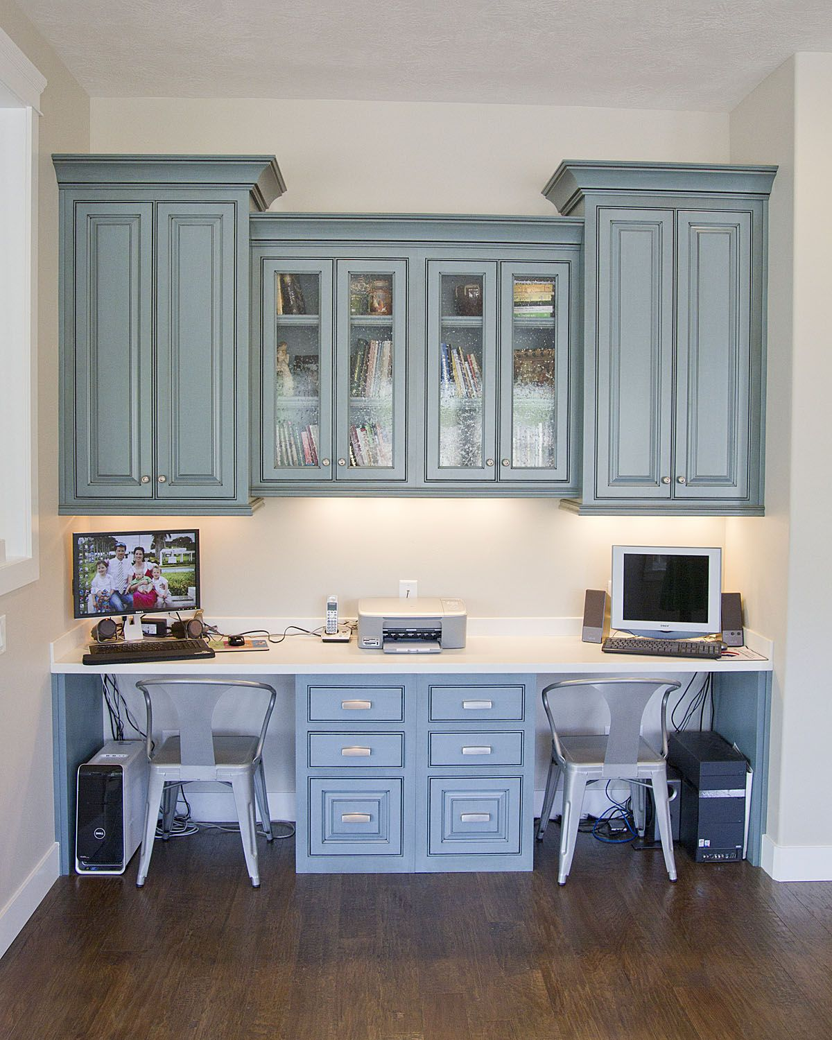 Hanging Cabinets Built In Desk For The Study Love The Color
