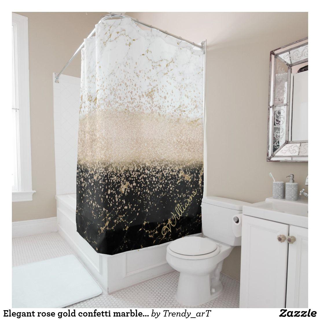 Elegant Bathroom Rose: Elegant Rose Gold Confetti Marble Design Shower Curtain