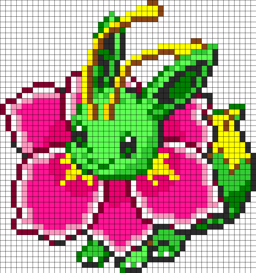 Eevee And Meganium Fusion Kandi Pattern Pixel Art Pokemon Pixel Art Grid Pokemon Cross Stitch