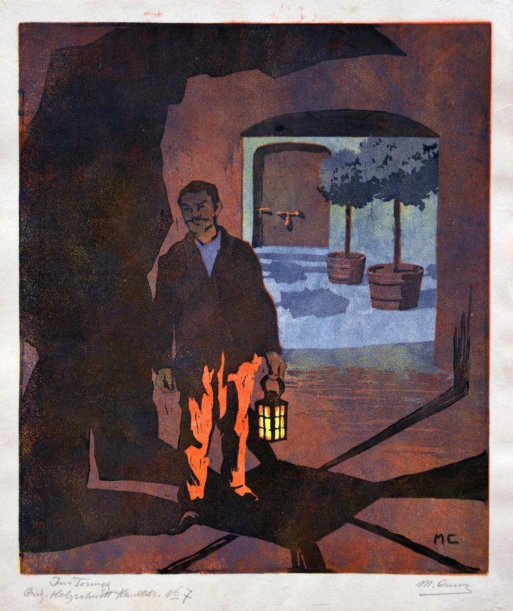 Wimpelkette - Farbholzschnitt - Martha Cunz (1876 - 1961), Im Torweg, 1907
