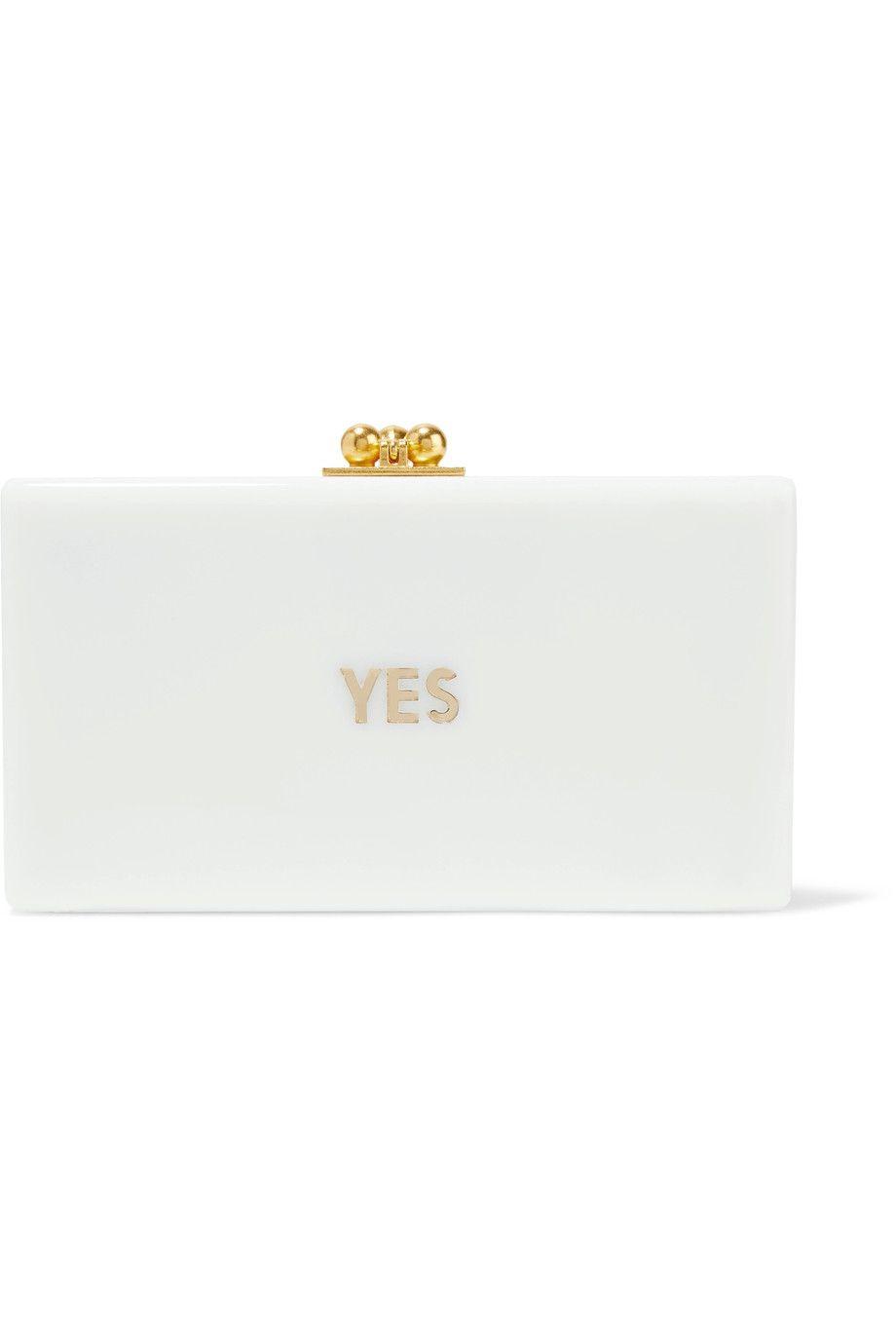 Jean Embossed Acrylic Box Clutch - White Edie Parker c5qaOm