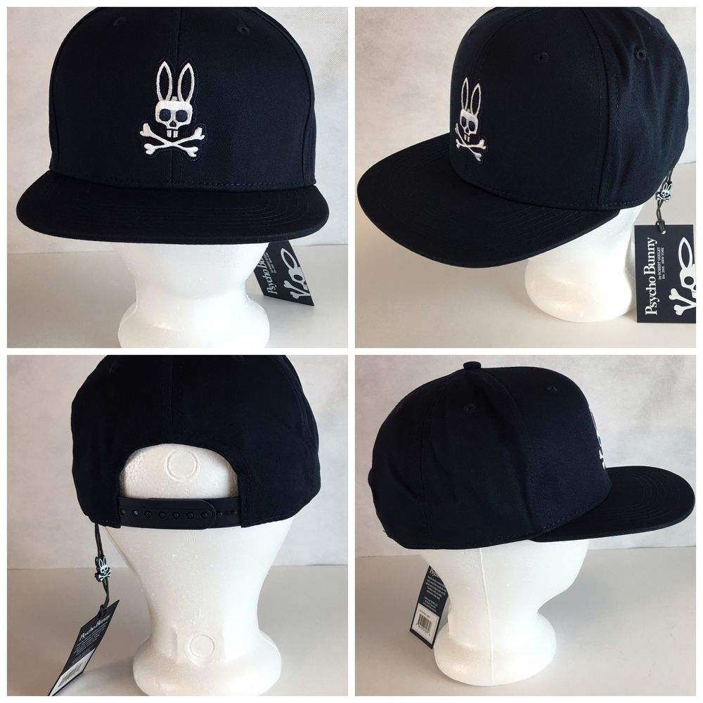 Psycho Bunny Flat Brim Flat Bill Snapback Cap Hat Navy One Size Fits All  6378b00f434