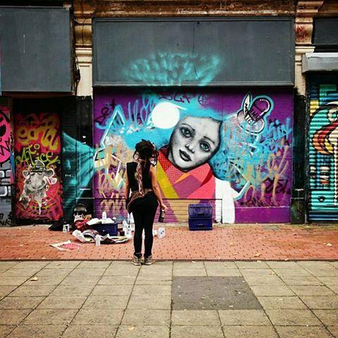 Street art , dreadlocks girl, urban art, cultural night Belfast , kathrina rupit, kinmx