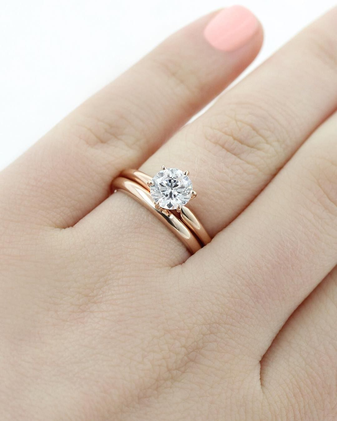 carat engagement diamond solitare bands round pave thin gold moissanite wedding rose band set solitaire matching ring