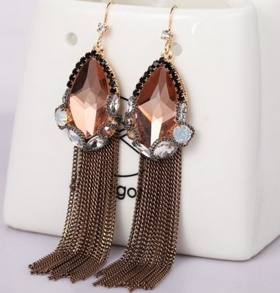 Crystal+Long+Tassel+Earrings