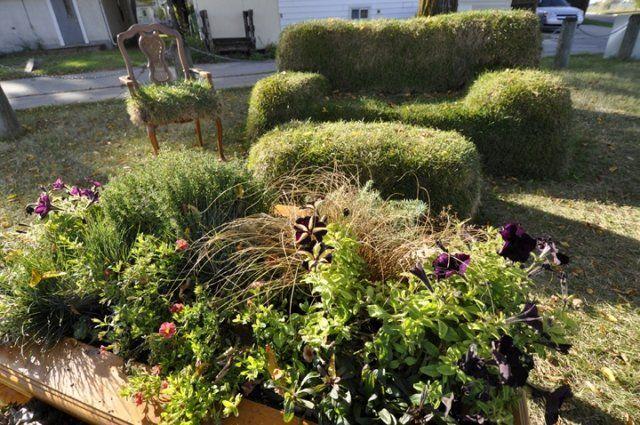 Garten Deko Idee Möbel Rasenstücke Machen Sofa Hocker Stuhl