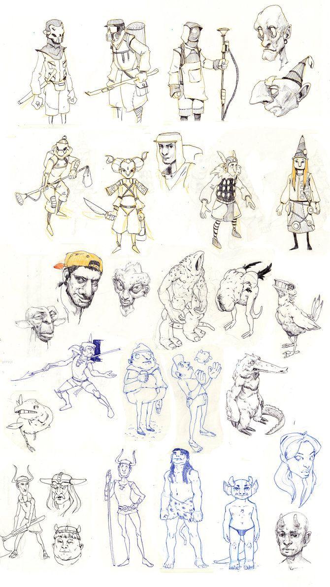 a bunch of character scribbles by ramandjafari on DeviantArt