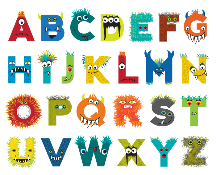 Custom designed monster alphabet for Psychobaby. | textiles teacher ...