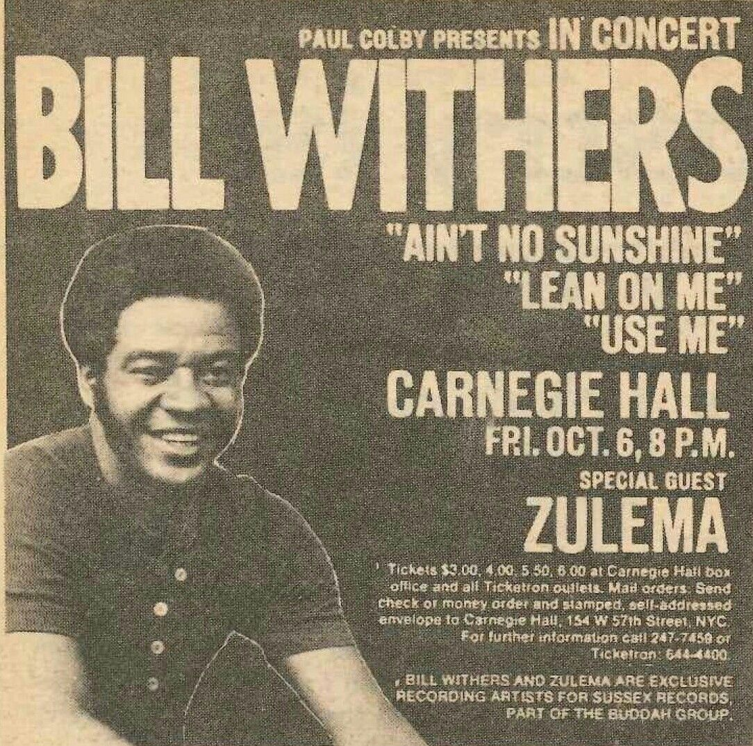 Image result for bill withers carnegie hall