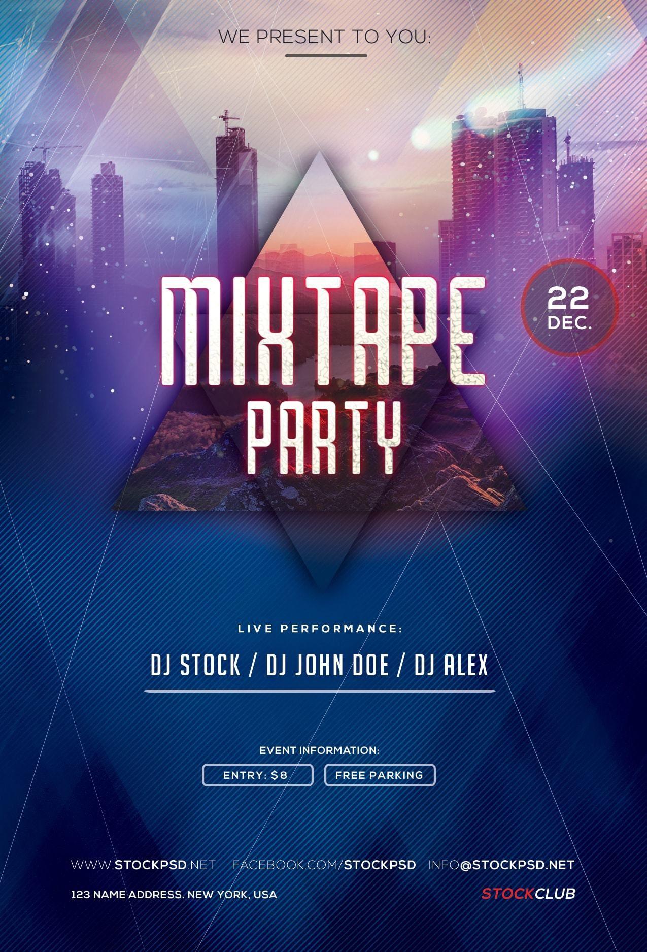 Pixelsdesign Mixtape Party Freebie Psd Flyer Template
