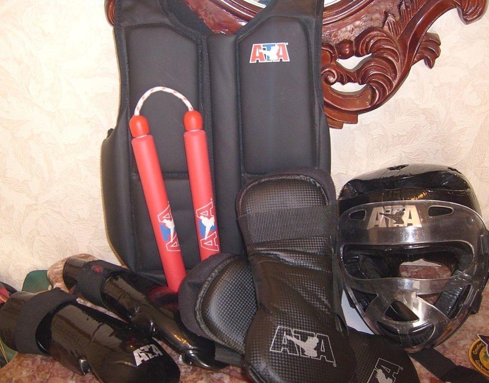 ATA Martial Arts Sparring Head Gloves Feet Chest Protector Gear BAG