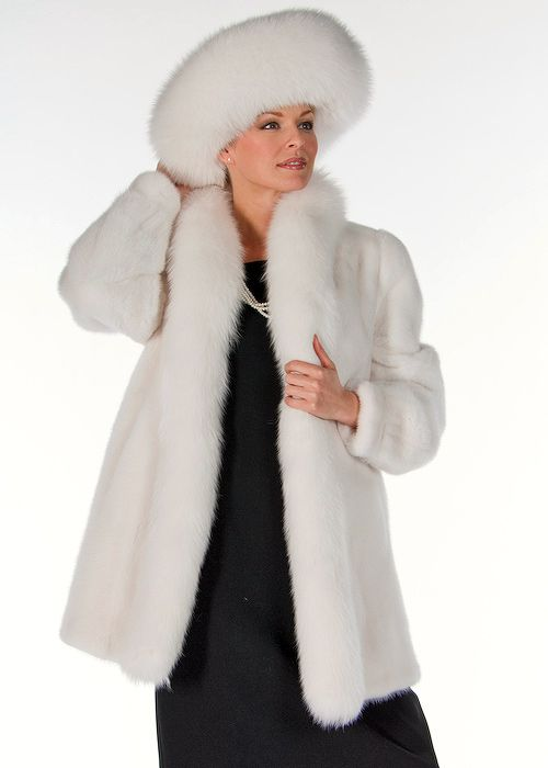 71f09f5374395 White Fox and Mink Fur Hat-Large Brim Fur Hat in 2019