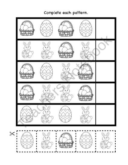easter patterns from pre k and kindergarten fun on 1 page complete. Black Bedroom Furniture Sets. Home Design Ideas