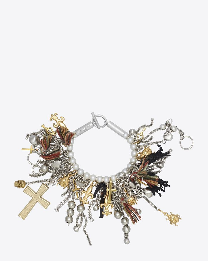 1cd357fbb81 Saint Laurent Signature Custom Pearl Charm Bracelet In White Pearls, Tin  And Gold Toned Brass | ysl.com