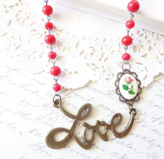 Love Is In The Air  Love Charm Beaded Necklace  by NestingPretty, $24.00